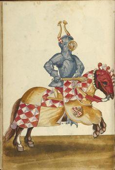 Unknown, illuminator ,A Horseman in Armor. German,about 1560 - 1570 Leaf: 43 x 28.9 cm (16 15/16 x 11 3/8 in.),83.MR.184.11v