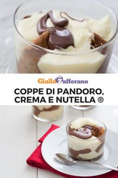 Pandoro, cream and Nutella® cups, Mini Desserts, Christmas Desserts, Sweet Recipes, Cake Recipes, My Favorite Food, Favorite Recipes, Cupcake Cakes, Food Cakes, Chocolate Lasagna
