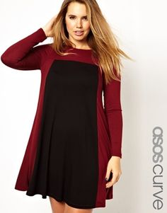 ASOS CURVE Exclusive Swing Dress In Colour Block