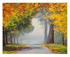 Autumn Road trees impressionist landscape original oil painting Graham gercken