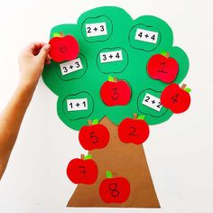 Easily and simple create a fun fall learning tool for your kids with this cute apple math tree learning activity! Perfect for addition lessons! Apple Activities, Autumn Activities For Kids, Kids Learning Activities, Math For Kids, Fun Learning, Creative Activities, Learning Numbers, Math Games, Early Learning