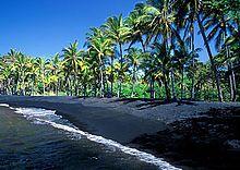 Punalu'u Beach (on the big island) with  BLACK sand! Amazing!! I brought some home!  :)
