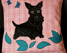 "Dog Scottie pillow cushion cover ""Black Scottish Terrier with Butterflies"", handmade, applique, pet, animal - Edit Listing - Etsy"