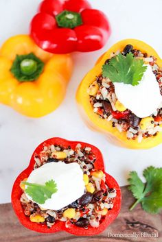 Southwest Grains Stuffed Peppers are a delicious appetizer, side, or main dish for a summer party or simply a dinner for two! Link to a digital coupon to get $.75 off (with the purchase of 3 Suddenly Salads) in July! #ad #SuddenlySaladSummer #Publix Recipe for Southwest Grains Stuffed Peppers at @Giustina | Domestically Blissful