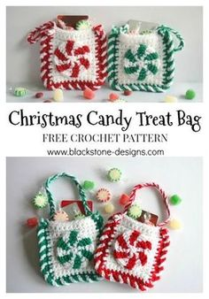 Crochet Purses Design Christmas Candy Treat Bag free crochet pattern from Blackstone Designs Post includes a list of filler ideas. Crochet Christmas Decorations, Crochet Christmas Ornaments, Christmas Crochet Patterns, Holiday Crochet, Christmas Knitting, Christmas Candy, Crochet Snowflakes, Christmas Angels, Christmas Christmas