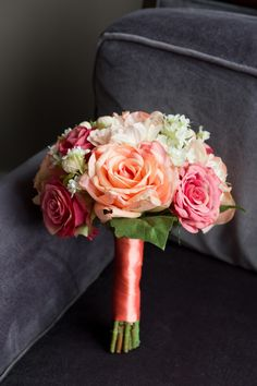 Coral+Wedding+Bouquet+made+with+silk+roses,+dahlia's+and+waxflower+by+Holly's+Wedding+Flowers+LLC. See+more+here:+http://www.hollysweddingflowers.com