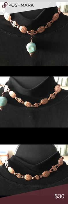 """Copper Choker with turquoise pendant 14"""" Copper links with hook closure. Has a green color turquoise pendant hooked on with copper wire. Great look. Meant to fit snug on neck . Earrings sold separately in my closet all made by @1Luck. Bundle and save 💰💰💰 hand done Jewelry Necklaces"""