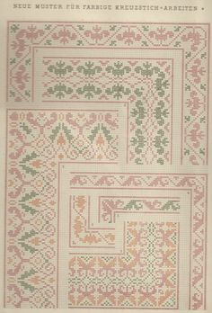 1 / Blatt 2 - Neue Muster-Vorlagen Fur Farbige Kreuzstich-Arbeiten - A. Scheffers - Published by J. M. Gebhardt's Verlag, Leopold Gebhardt, 1887