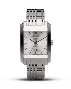 Burberry Square Silver Dial Watch, 33mm - Watches - Burberry - Designer Shops - Jewelry & Accessories - Bloomingdale's
