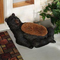 black bear wine bottle holder rack cabin lodge home bar barware