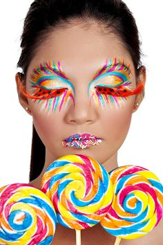 Lollipop Girl by Johnny Dao Candy Girls, Exotic Makeup, Eye Makeup, Weird Makeup, Extreme Makeup, Candy Costumes, Fantasy Make Up, Candy Makeup, Foto Fashion