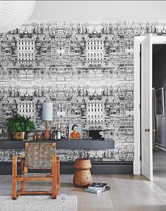 We adore this architectural-inspired Cole & Son wallpaper – talk about making a statement! Image: Livingetc