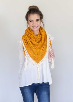 Honey Bird Triangle Scarf - Free Crochet Pattern by Hopeful Honey