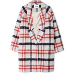 Ganni Mother Of Pearl Check Coat (537,180 KRW) ❤ liked on Polyvore featuring outerwear, coats, jackets, coats & jackets, long sleeve coat, ganni and checked coat