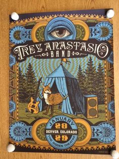 Original silkscreen concert poster for Trey Anastasio (of Phish) at The Ogden Theatre in Denver, CO in 2014. 18 x 24 inches. Signed and numbered out of 300 by the artist Justin Helton. Light scuffs and handling marks.