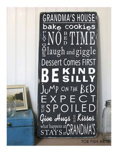 GRANDMA'S HOUSE RULES sign Distressed Typography by ToeFishArt, $85.00