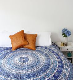 Meditasi Cushion Mandala Symbols, Soft Leather, Comforters, Cushions, Couch, Blanket, Bed, Summer, Home