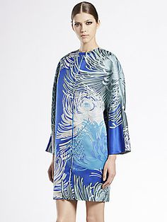 Gucci Dahlia Print Silk Gazar Collarless Coat