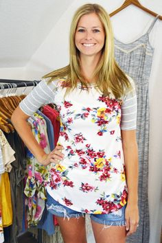 Great Summer tops! | Gray Stripe With Floral Bodice Top | Jack & Monroe Boutique | Free Shipping