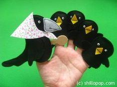 "Finger toys for a famous Russian action verse ""soroka-vorona"" Felt Puppets, Felt Finger Puppets, Puppet Crafts, Felt Crafts, Bird Nest Craft, Finger Puppet Patterns, Cardboard Toys, Finger Plays, Felt Quiet Books"