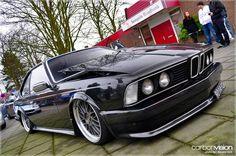 BMW E24 6 series black slammed