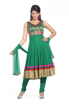 Green Sleeveless Faux Georgette Anarkali Salwar Kameez 18072