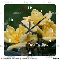 Yellow Rose Flower Trio Square Wall Clock.  From Smilin' Eyes Treasures at Zazzle.