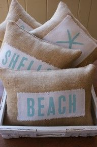 burlap beach pillows these would be so cute as a decoration in a beach house! Deco Marine, Dream Beach Houses, Beach Room, Bedroom Beach, Beach Theme Bedding, Surfer Bedroom, Burlap Pillows, Throw Pillows, Burlap Fabric
