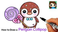 Learn How to Draw this super cute Penguin Squishy named Wiwee by Moriah Elizabeth holding a big Lollipop with a bow. Easy, step by step cartoon drawing lesso. Penguin Cupcakes, Valentine Cupcakes, Heart Cupcakes, Pink Cupcakes, Valentine Treats, Drawing Lessons, Drawing Step, Drawing Ideas, Big Lollipops
