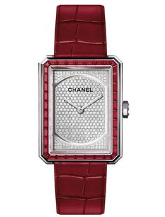 Stunninh Chanel watch in white gold set with rubies, diamonds and alligator strap. Cool Watches, Watches For Men, Wrist Watches, Trendy Watches, Latest Watches, Women's Watches, Fashion Watches, Chanel Jewelry, Jewellery