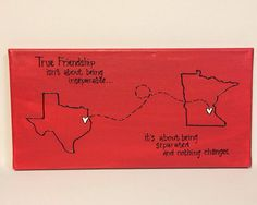 Valentines SALE- Miss you Gift-Red State to State Canvas- true friendship  on Etsy, $15.99