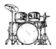 Drum Drawing, Guitar Drawing, Microphone Tattoo, Drum Tattoo, Drums Art, Hand Drum, Boat Art, Music Painting, Pencil Art Drawings