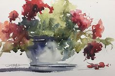 Afternoon Geraniums by Sandy Strohschein Watercolor ~ 12 x 18