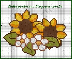 Dinha Ponto Cruz: gráficos de flores em ponto cruz