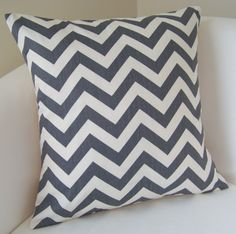 Decorative Pillow Cover 18x18 Inch Gray Chevron Zig by nestables, $20.00