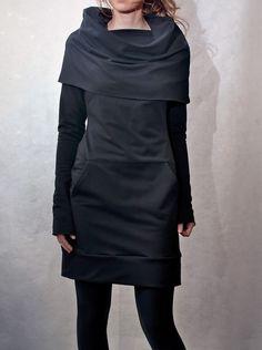 Black Cowl Neck Pocket Tunic di emilyryan su Etsy