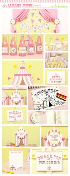 Circus Birthday Party Package Collection Set Mega Personalized Printable Design by leelaaloo.com || #circus #carnival #pink #birthday #party #theme #leelaaloo