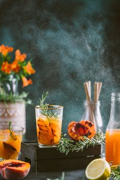 Grilled Nectarine Rosemary Iced Tea Healthy Breakfast Recipes, Healthy Desserts, Healthy Recipes, Rosemary Tea, Indian Drinks, Food Photography Styling, Food Styling, Feel Good Food, Sugar Free Recipes