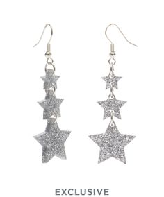 Shooting Star Earrings - Glitter Silver £40 (sale £20) - Christmas 2016