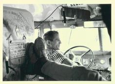 Neal Cassady driving The Merry Pranksters' bus  I love Neal Cassady; he was so much bigger than life. I plan to name my daughter Cassady...assuming I ever have a daughter, lol.