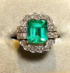 Art deco period emerald ring