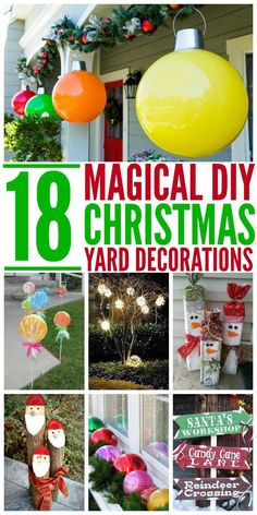 18 Magical Christmas Yard Decorations I love decorating for Christmas! But I also love to make my decorations unique and pretty. These Christmas yard decor ideas are fantastic and will make the season even more magical! Diy Christmas Yard Decorations, Gingerbread Christmas Decor, Hanging Christmas Lights, Diy Christmas Ornaments, Christmas Cactus, Christmas Island, Christmas Decor Diy Cheap, Homemade Christmas, Dollar Store Christmas