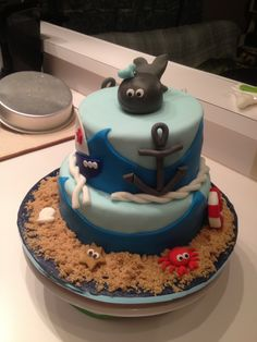 Nautical baby shower cake.