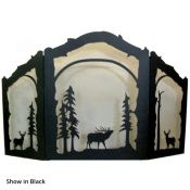 Elk and Deer Arched 3 Panel Fireplace Screen - Black