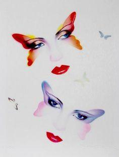 Butterflies by Pater Sato (Lithograph) from Art Shop: Fine Art on Gilt Retro Kunst, Retro Art, Wall Collage, Framed Artwork, 1980s Art, Blog Art, Hippie Art, Airbrush Art, Retro Futurism