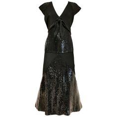 Preowned 1980s Chloe Black Silk Sequin Gown ($2,800) ❤ liked on Polyvore featuring dresses, gowns, black, evening dresses, 80s dress, vintage evening dresses, silk dress, vintage 80s dress and cap sleeve dress