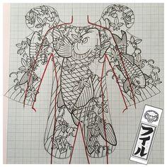 #mulpix Working on some #bodysuit #backpiece ideas. #koi #irezumi #horimono…