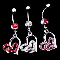 Hot 1pc Rhinestone Double Heart Dangle Navel Belly Bar Ring Body Piercing Jewelry Gift Drop Shipping Body-0207