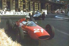 #21 John Surtees...Scuderia Ferrari SpA SEFAC...Ferrari 156/63...Motor Ferrari 178 V6 1.5...#6 Graham Hill...Owen Racing Organisation...BRM P57...Motor BRM P56 V8 1.5...GP Monaco 1963
