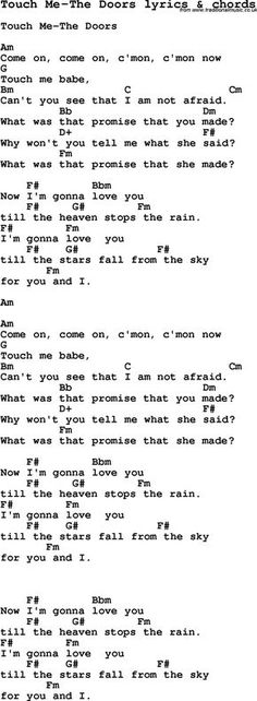 Touch Me The Doors Song | Love Song Lyrics for: Touch Me-The Doors with chords for Ukulele ...